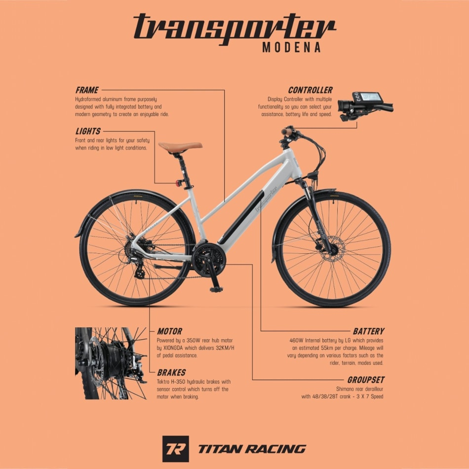 Titan E-Transporter Womens Modena Bike, product, variation 2