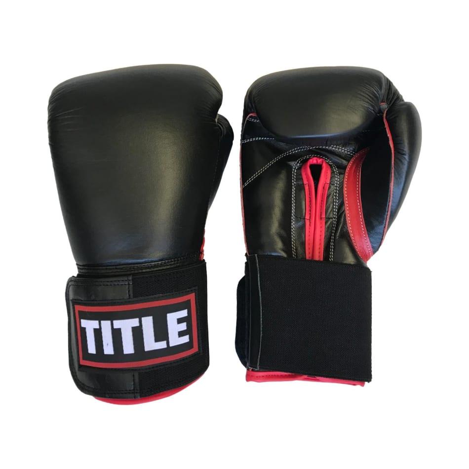 Title Leather Sparring Gloves 14oz Black/Red Trim, product, variation 1