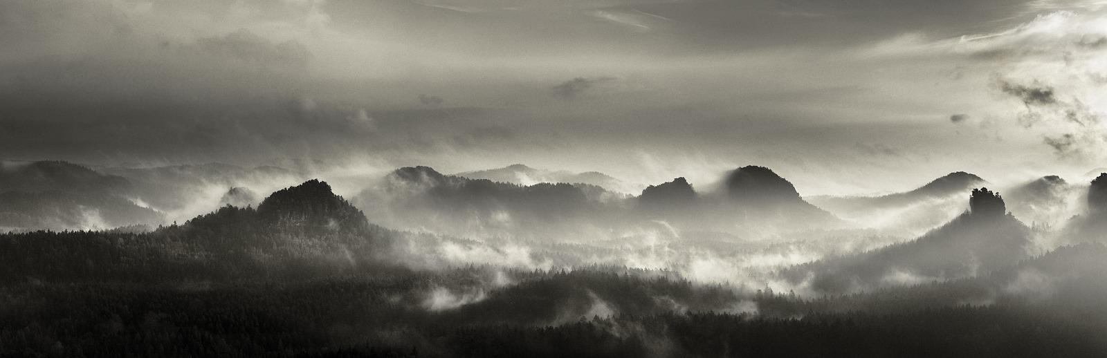 Morning panorama of Saxon Switzerland