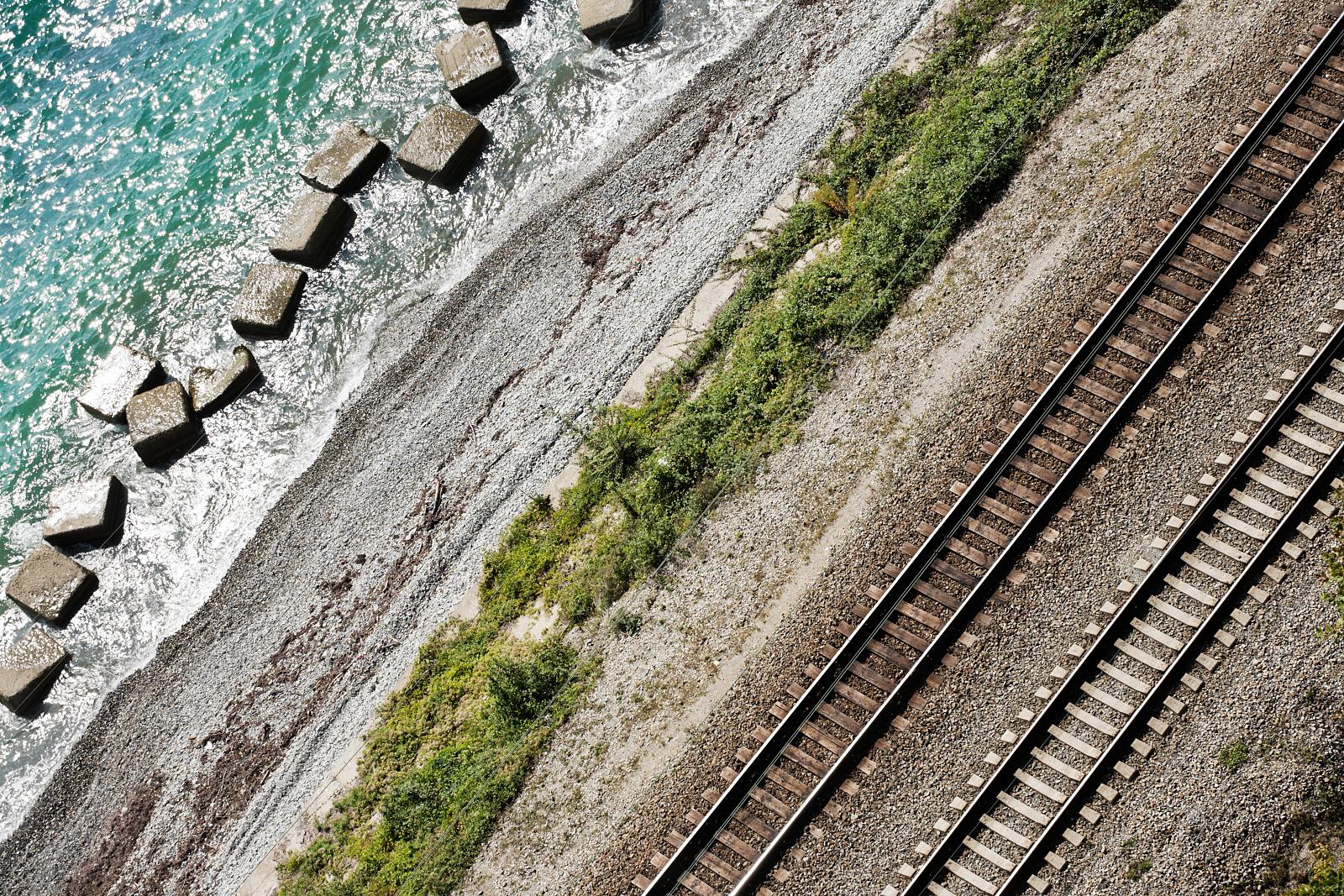 Railway on a sea shore
