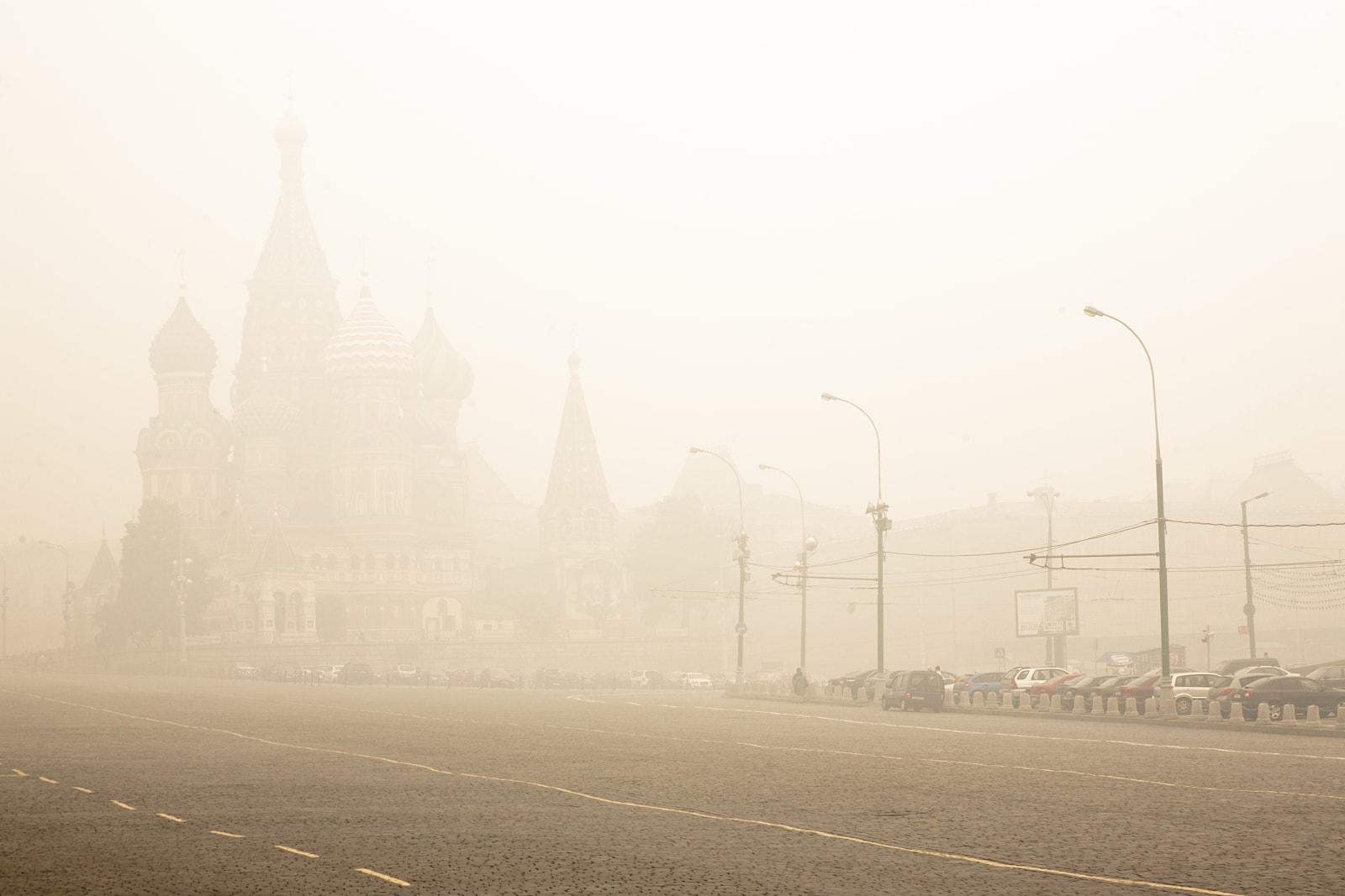 Saint Basils Cathedral in smoke