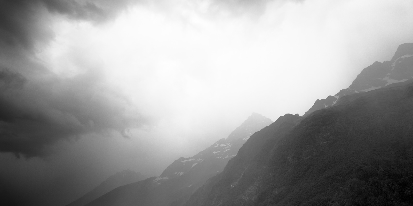 Mountains in rain