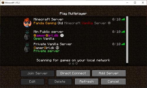 Mine Minecraft Servere