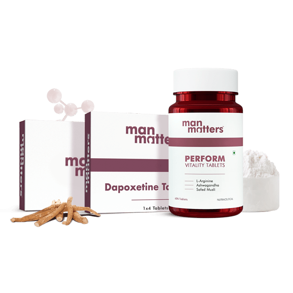 Dapoxetine Tablets, PERFORM Vitality Energy Booster Tablets and Tadalafil Tablets to improve stamina and endurance