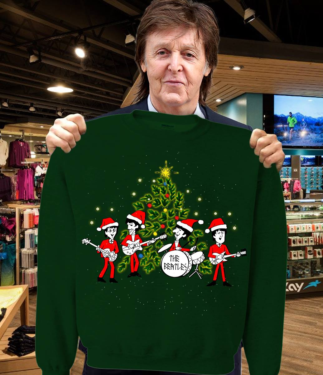 The Beatles chibi and Christmas tree ugly sweater from moteefee
