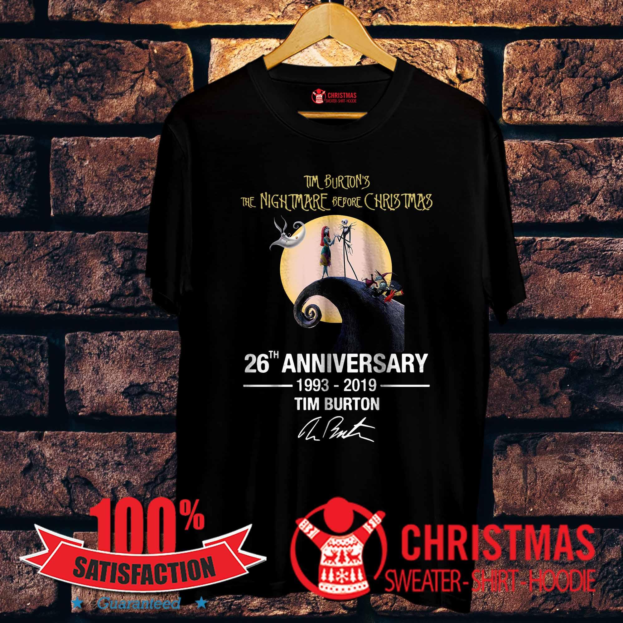 f89fd8c0 Tim Burton's The Nightmare before Christmas 26th anniversary 1993 2019 shirt