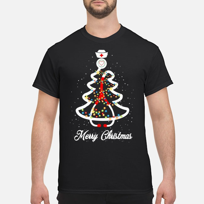 Stethoscope Christmas Tree Merry Christmas Nurse Shirt