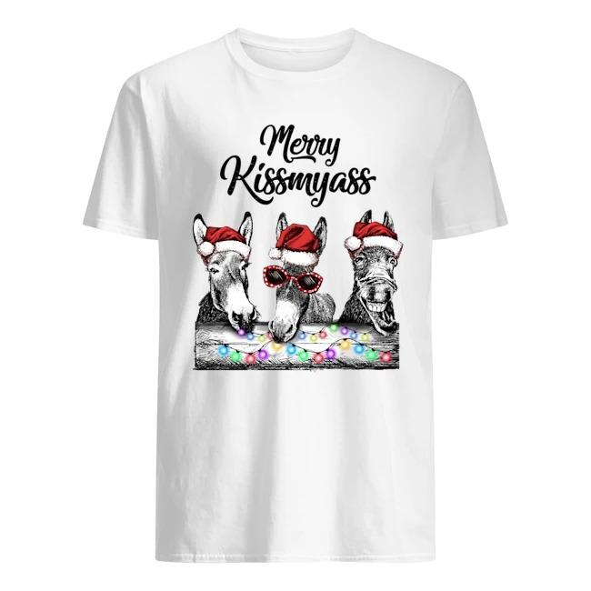 Merry Kissmyass Donkey Light Christmas Shirt