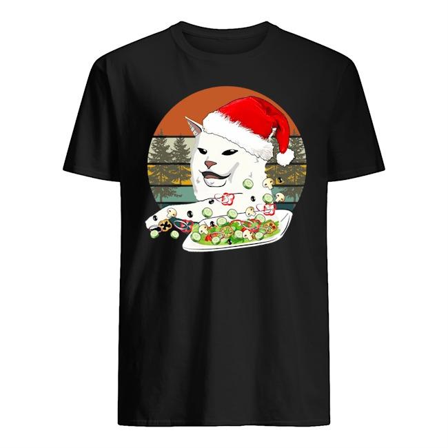 Santa Woman Yelling At A Cat Vintage Christmas Sweatershirt