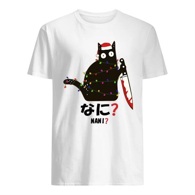 Santa Nani murderous black cat with knife light Christmas sweatershirt