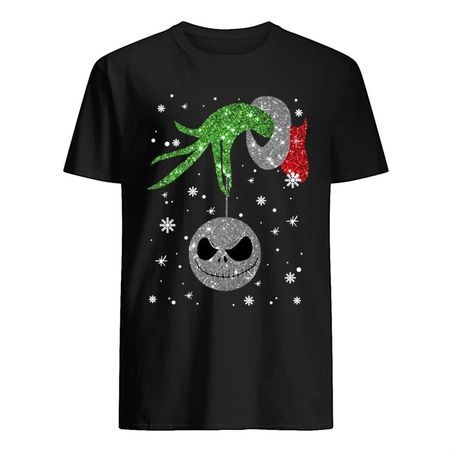Hand Grinch Holding Head Jack Skellington Christmas Sweatershirt