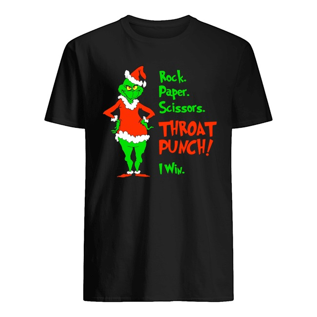 Santa Grinch rock paper scissors throat punch i win Christmas Shirt