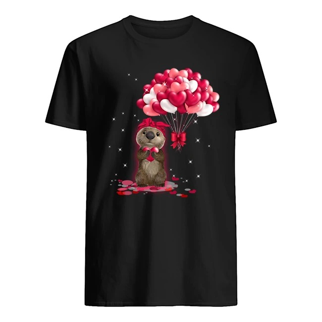 Otter Love Balloons Heart Shirt