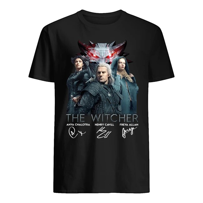 The Witcher Anya Chalotra Henry Cavill Freya ALlan Signatures Shirt