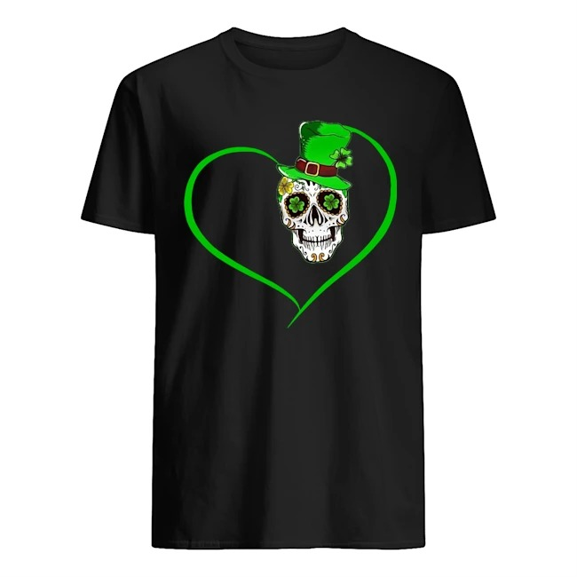 Sugar Skull Irish Shamrock St Patrick_s Day Heart Shirt