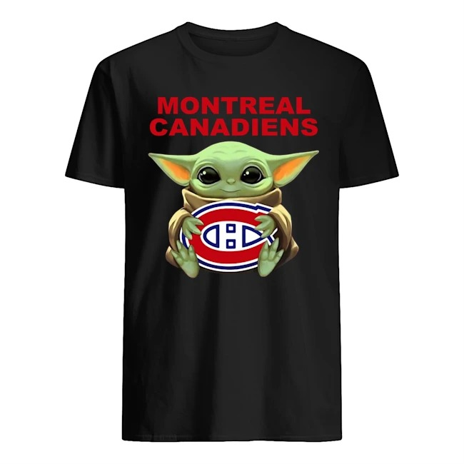 Baby Yoda Hug Montreal Canadiens Logo Shirt