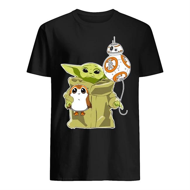 Dalatshirtstore The Mandalorian Baby Yoda Hug Sad Porg Shirt