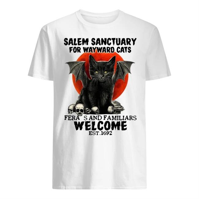 Bat Skull Salem Sanctuary For Wayward Cats Ferals And Familiars Welcome Est 1692 Shirt