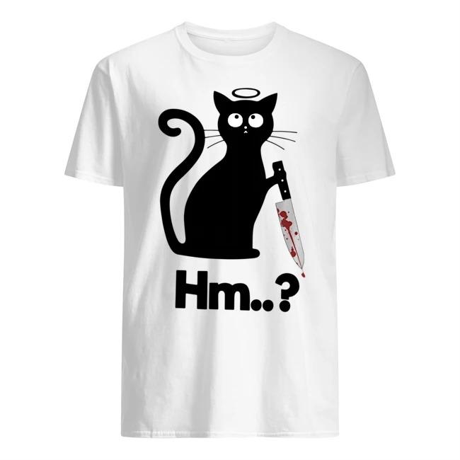 Black cat angel knife Hmm shirt