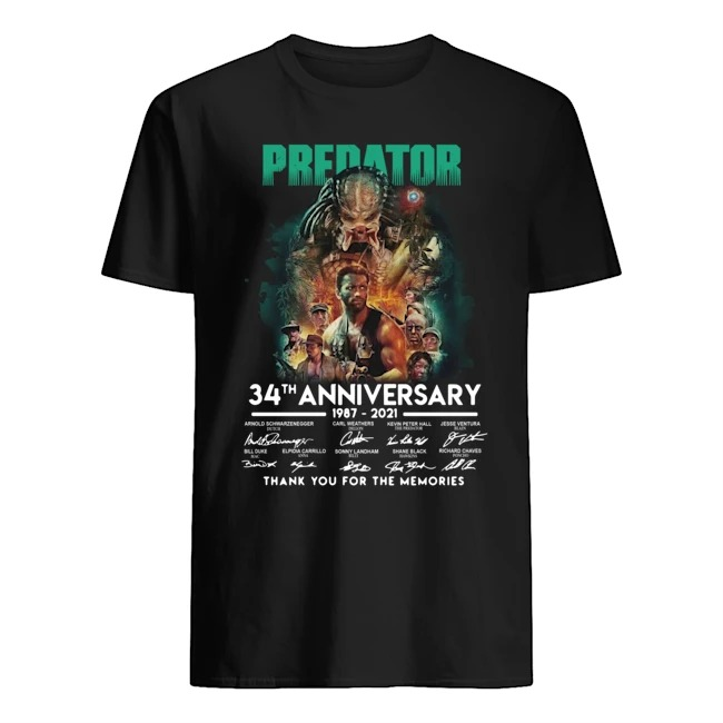 Predator 34th anniversary 1987-2021 thank you for the memories signatures shirt