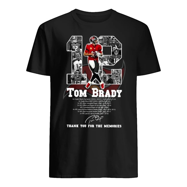 Tampa Bay Buccaneers Tom Brady 12 thank you for the memories signature shirt