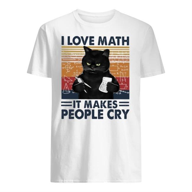 Black cat I love math it makes people cry vintage shirt