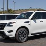 White Nissan Pathfinder in parking lot
