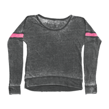 Black with Pink Stripe Rugby Shirt