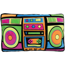 Boombox Fleece Embroidered Pillow