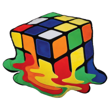 Melting Rubik's® Cube Embroidered Pillow