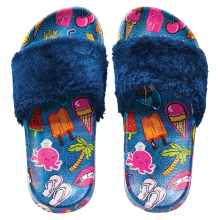 Embroidered Patches Fur Slides