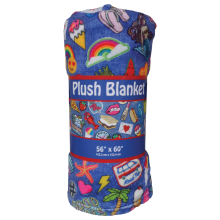 Embroidered Patches Plush Blanket
