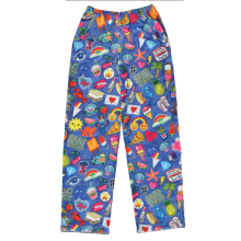 Embroidered Patches Plush Pants
