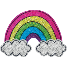 Rainbow and Clouds Rhinestone Decals Small