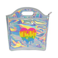 Holographic Dripping Heart Lunch Tote