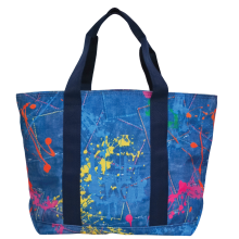Paint Splatter Denim Tote Bag