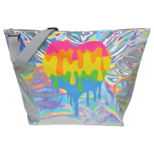 Holographic Dripping Heart Weekender Bag