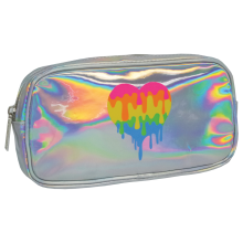 Holographic Dripping Heart Small Cosmetic Bag