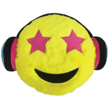 Headphones Emoji Furry Embroidered Pillow