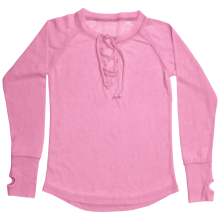 Pink Lace-Up Thermal Shirt
