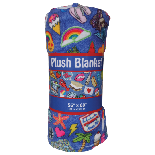 Picture of Embroidered Patches Plush Blanket