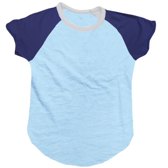 Picture of Light Blue/Dark Blue Short Sleeve Baseball Shirt