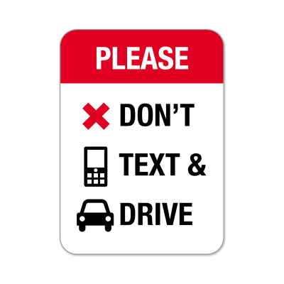 "Picture of ""Please Don't Text And Drive"" Stickers"