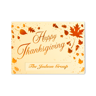 Picture of Scattered Thanksgiving Leaves Greeting Card