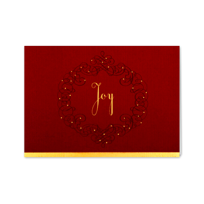 Picture of Red Joy Wreath Greeting Card