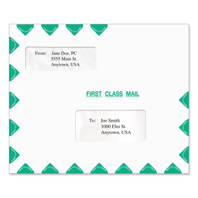 Picture of 9.5 x 11.5 Double Window Tax Software Envelope (Horizontal)