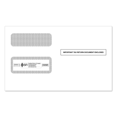 Picture of 2-Up 1099-MISC Or 1099-R Double Window Tax Envelope (7777)