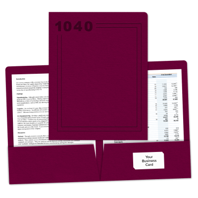 "Picture of Embossed ""Pre-Designed"" Tax Return Folder (1040)"