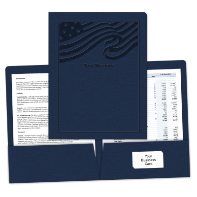 "Picture of Embossed ""Pre-Designed"" Tax Return Folder (Flag)"