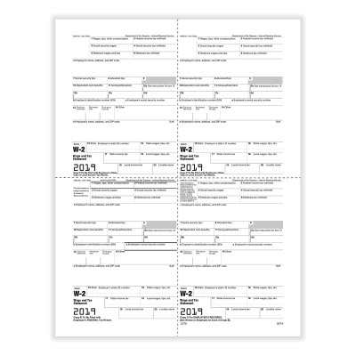 Picture of Form W-2 - Employee Copies B/C/2/2 - 4up Version 1 (5214)